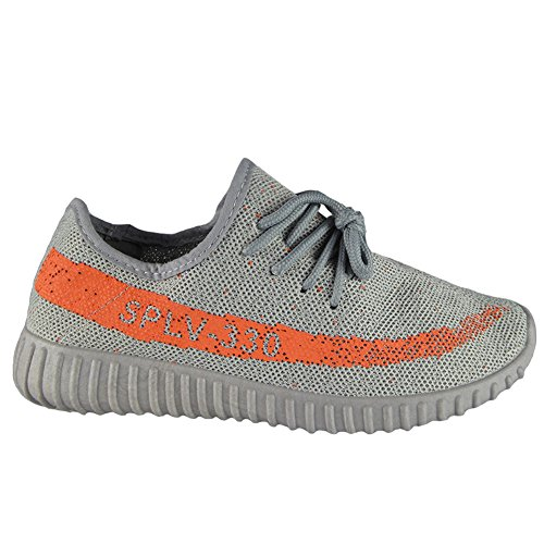 Ladies Running Trainers Womens Fitness Gym Sports Comfy Light Lace Up Shoes Size 3-8 Grey/Orange qUadlkI