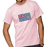 British Indian Ocean Territory Flag Adult Short Sleeve T-Shirt Pink Large