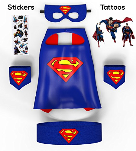 [Child Superman Cape Costume Set By PREMIAX| Includes Cape Mask Belt Wristbands Stickers and Tattoos] (Costumes Superman)
