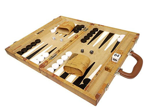 Middleton Games NEW! - 15-inch Luxurious Map Backgammon Set - Brown ()