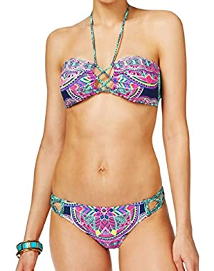 Jessica Simpson Caged Strappy Mojave Macrame Bandeau Swimsuit Swimwear Bikini Top & X-Cross Hipster Cut Out Bottom...