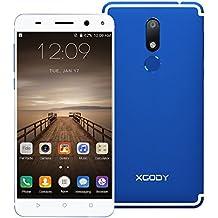 Xgody D22 5.5'' Android 7.0 Nougat with Fingerprint 4G FDD-LTE Smart Phone Unlocked MTK6737 Dual Camera (13MP+5MP) GPS WIFI HD Screen Cellphone Unlocked (Blue)