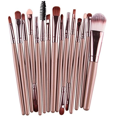 15 Pcs Makeup Brush Set Eyebrow Cosmetic Make Up Tool Professional Natural Beauty Palettes Eyeshadow Delightful Popular Eyes Face Colorful Rainbow Hair Highlights Glitter Girls Travel Kit, Type-06 ()