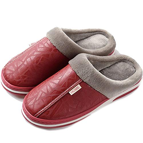 High end 2018 Men's Slippers Winter Leather Thick with Plush Home Waterproof Flats Warm Indoor Shoes Non-Slip Slippers Lovers Fur Shoes,11MUS,WomenWineRed]()