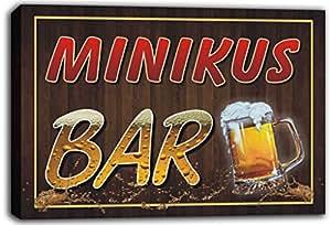 scw3-106812 MINIKUS nombre de forma de Pub cerveza jarras de impresión de Lienzo con texto en inglés