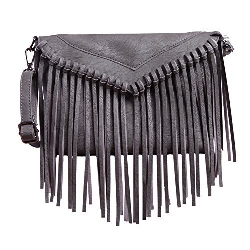 HDE Women's PU Leather Hobo Fringe Crossbody Tassel Purse Vintage Small ()