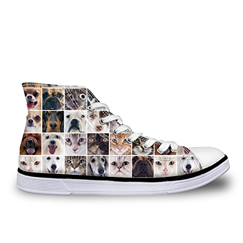 High Animal DESIGNS Top Pet Canvas Shoes Flat Cat U 8 Casual Dog Women Cute Sneakers FOR UH6wXqR