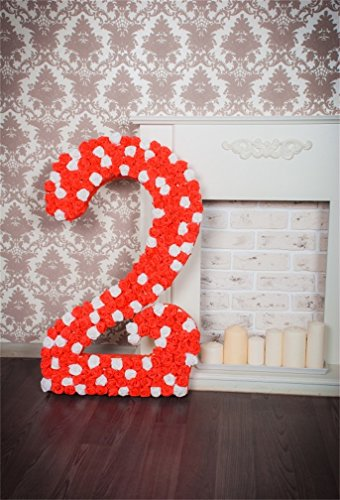 AOFOTO 4x6ft Second Birthday Celebration Backdrop Number 2 Craft Ornament Party Decoration Photography Background Interior Fireplace Photo Studio Props Infant Girl Kid Child Portrait Vinyl Wallpaper
