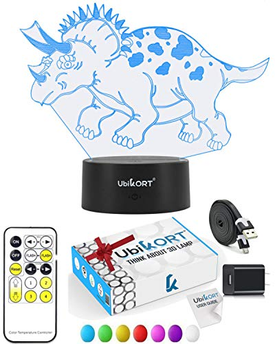 UbiKORT Dinosaur Night Light for Kids, 3D Dinosaur lamp for Bedroom Decor and Great Birthday Gift, 3D LED Illusion Lamp with 7 Colors Mode Smart Switch, Remote Control, USB Charger (Baby Triceratops)