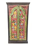 Antique Wardrobe Hand Painted Haveli Armoire Cabinet Shabby chic Interiors Design