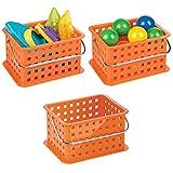mDesign Storage Organizer Basket, for Balls, Blocks, Toys - Pack of 3, 9.25'' x 7'' x 5'', Orange