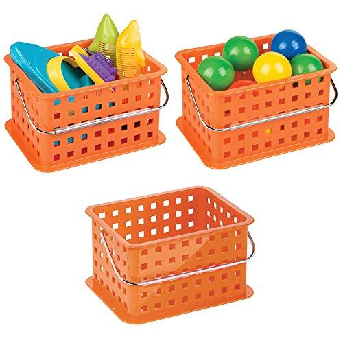 mDesign Storage Organizer Basket, for Balls, Blocks, Toys - Pack of 3, 9.25