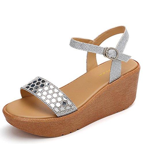 Cómodo Pendiente con el verano femenino de las sandalias Zapatos salvajes de los altos talones sandalias flojas Zapatos dulces Pendiente simple de la deducción de la palabra con las sandalias (2 color B