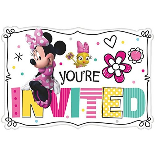 Amscan Minnie Mouse Pink Birthday Party Invitations Invitation Cards Supplies, 8 Pieces, Made from Paper, Pink, 5 7/9