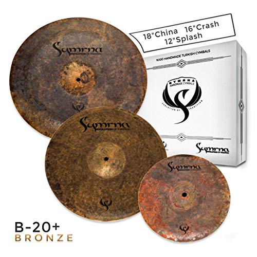 Symrna Cymbals Hand Hammered Cymbal Pack Made in ISTANBUL (18″China/16″Crash/12″Splash) (3 Pieces) Raven Series Box Set (Weight: Thin) 2-YEAR Warranty