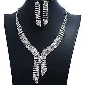Yhjkvl Jewellery Sets Flower Long Fringed Rhinestone Necklace Tie Earrings Set Bride Ball Silver Necklace Earrings Party…