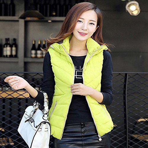 日付メールを書く振る舞う冬暖かいフード付きレディースベスト_fluorescent green_M