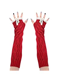 Drasawee Winter Warm Lace Knitted Crochet Long Fingerles Gloves Red