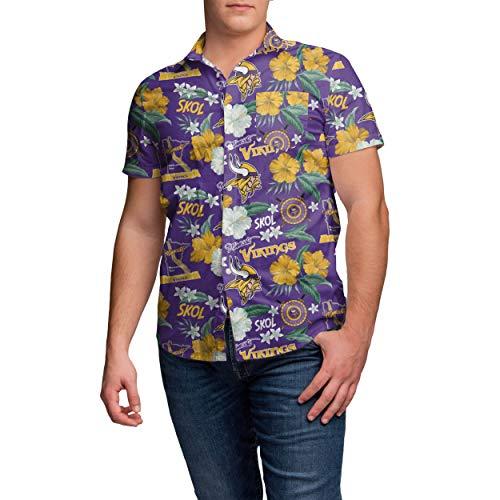 (NFL Minnesota Vikings Mens Thematic Print Tropical Floral Button Up ShirtThematic Print Tropical Floral Button Up Shirt, Team Color,)