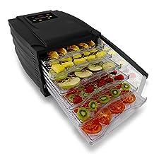NutriChef Digital Food Dehydrator | Multi Tier Shelf | Food Preservation System | Beef Jerky Maker | Fruits, Vegetables | Survival Foods With Long Shelf Life | 6 Slide Out Dryer Trays & Glass Door
