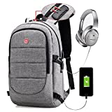 Anti-Theft Men Backpack with Usb Port Grey Laptop Backpack Business Backpack With Usb Charging Port Under 15.6 Inch Laptop And Notebook … (Grey)