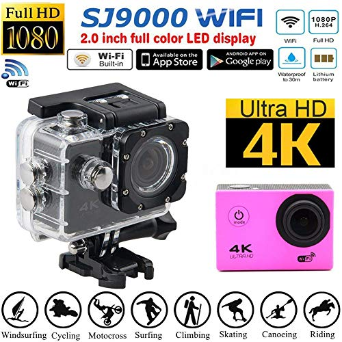 Price comparison product image Sport Action Camera 4K WiFi Ultra HD SJ9000 Waterproof Video Camcorder USB Cable 30MP 170 Degree Wide Angle 2 inch LCD Screen DV DVR Action Cam (Gold)
