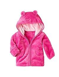 XWDA Baby Girl' Solid Micro Fleece Jacket with Lined Hood