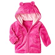 XWDA Baby Girl' Solid Micro Fleece Jacket with Lined Hood (3-6 Months,Pink)
