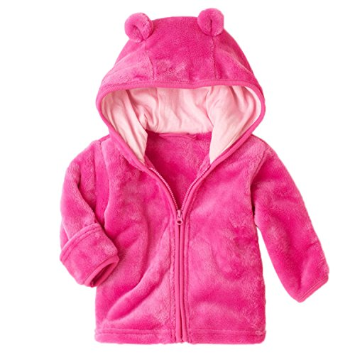 XWDA Baby Girl' Solid Micro Fleece Jacket with Lined Hood (12-18 Months,Pink)