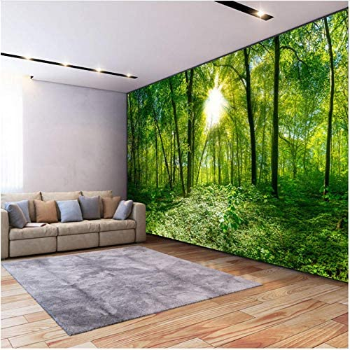 Lcymt 写真の壁紙3D立体空間緑の森木自然風景壁画リビングルームモダンな装飾-150X120Cm