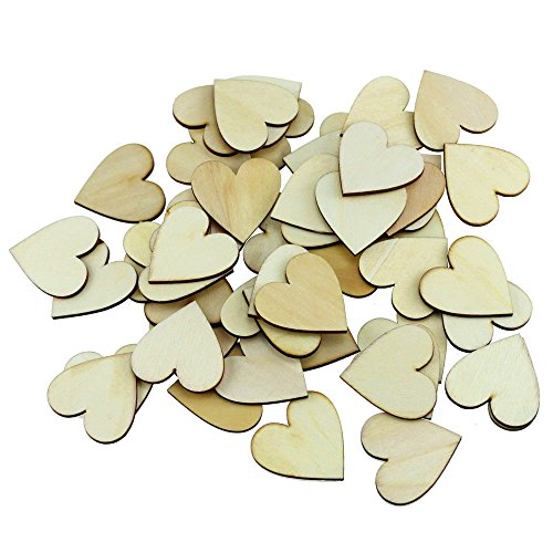 150PCS Fyess 4CM Wooden Blank Love Hearts Crafts Decor For Arts & Crafts Projects, Ornaments, Wedding Table Scatter Decoration. - Ornament Craft Projects