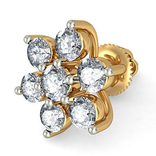 Or jaune 18K 0,47carat au total White-diamond (IJ   SI) Boucles d'oreille à tige