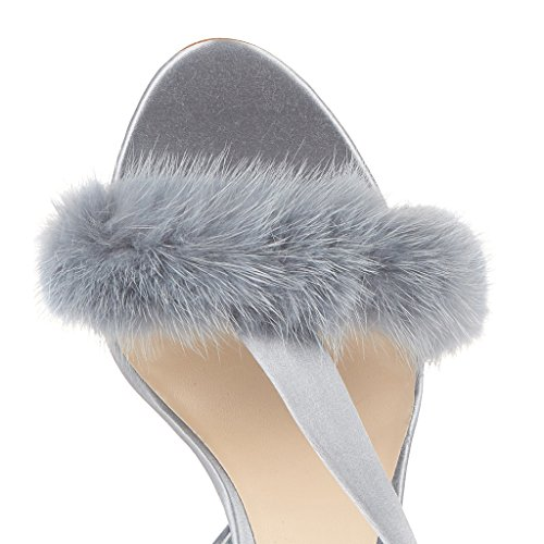 Prom Girl Heels Plush 11CM Height Elegant High Women's 13CM Heel Toe Gray Heel Peep High Sandals qnU0U8pw