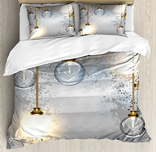 Ambesonne Industrial Decor Duvet Cover Set Queen Size, Steampunk Antique Composition Brass Fastening Round Figures Print, Decorative 3 Piece Bedding Set with 2 Pillow Shams, Gold Grey White ()