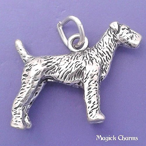 925 Sterling Silver 3-D Airedale Terrier Dog Charm Pendant Jewelry Making Supply, Pendant, Charms, Bracelet, DIY Crafting by Wholesale Charms