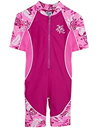 Tuga Girls Low Tide S/S Swimsuit (UPF 50+), Cotton Candy, 12-18 mos