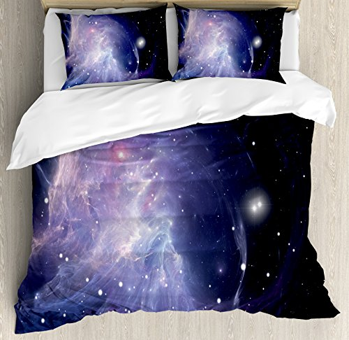 Ambesonne Outer Space Duvet Cover Set Queen Size, Space Nebula in Galaxy Complex Energy Movements Cosmos Theme Inspiring Print, Decorative 3 Piece Bedding Set with 2 Pillow Shams, Navy Purple by Ambesonne