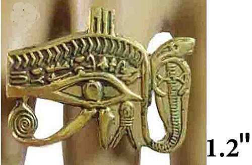 Egyptian Finger Ring Hieroglyphic Horus Eye Ankh Pharaoh Brass Hand Engraved Adjustable Egypt pharaohs Costume Jewelry Accessory Handmade 105