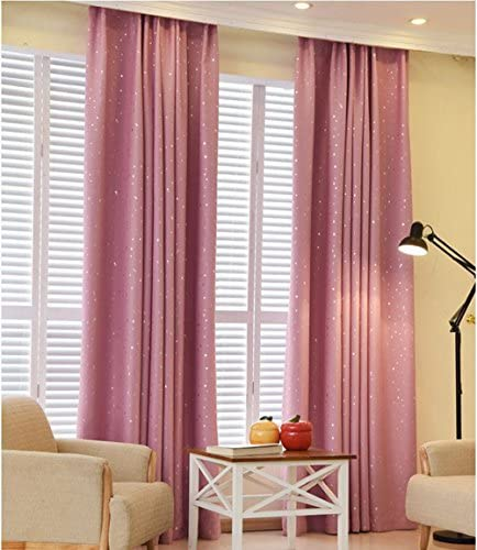 pureaqu Twinkle Star Kids Curtains Foil Print Star Room Darkening Pink Curtain Panels Thermal Insulated Starry Grommet Window Drape