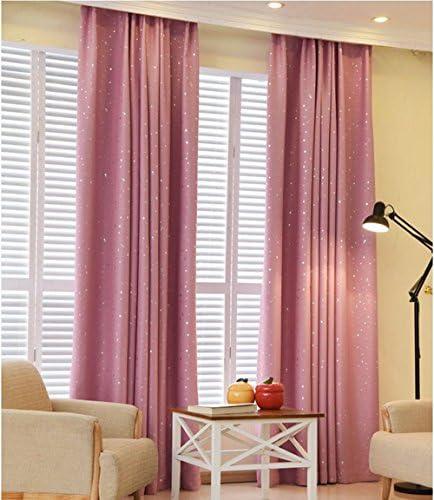 pureaqu Twinkle Star Kids Curtains Foil Print Star Room Darkening Pink Curtain Panels Thermal Insulated Starry Grommet Window Drape