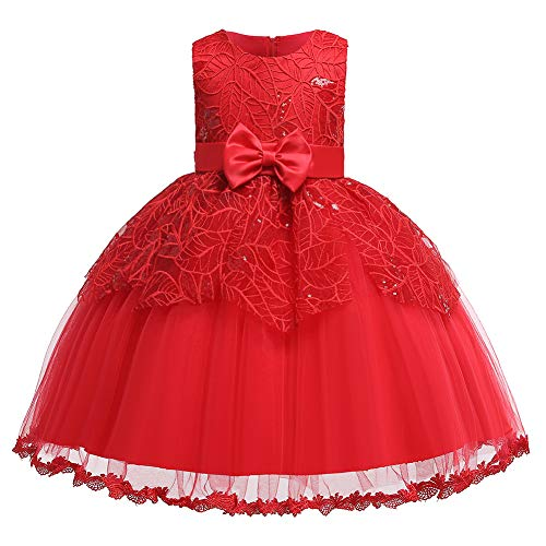 (Baby Girl Red Dress 1-2 Years Sleeveless 3D Flower Dress for Easter Pageant Birthday Party Toddler Girls Princess Tulle Tutu Dress for Special Occasion Wedding Party Cute(Red100))