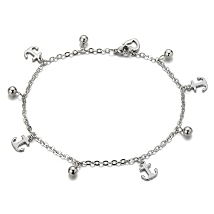 COOLSTEELANDBEYOND Stainless Steel Anklet Bracelet with Dangling Charms of Dolphins and Beads