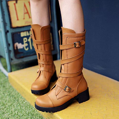 Platform Boots Mid Brown Fashion Half Women Coolcept qwSxUX1q