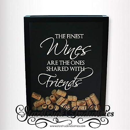 Calcomanía solamente, los mejores vinos son los que se comparten con amigos, caja de corcho de vino, calcomanía de regalo para el amante de los bebedores de vino, regalo para dama de honor