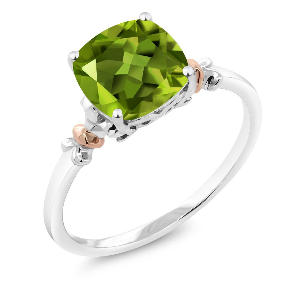 925 Sterling Silver and 10K Rose Gold Ring Green Peridot 2.45 cttw, 8x8mm Cushion (Size 8)