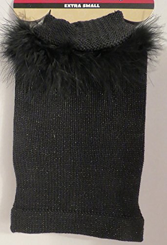 Black Dog Pet Sweater with feather boa collar removable XS
