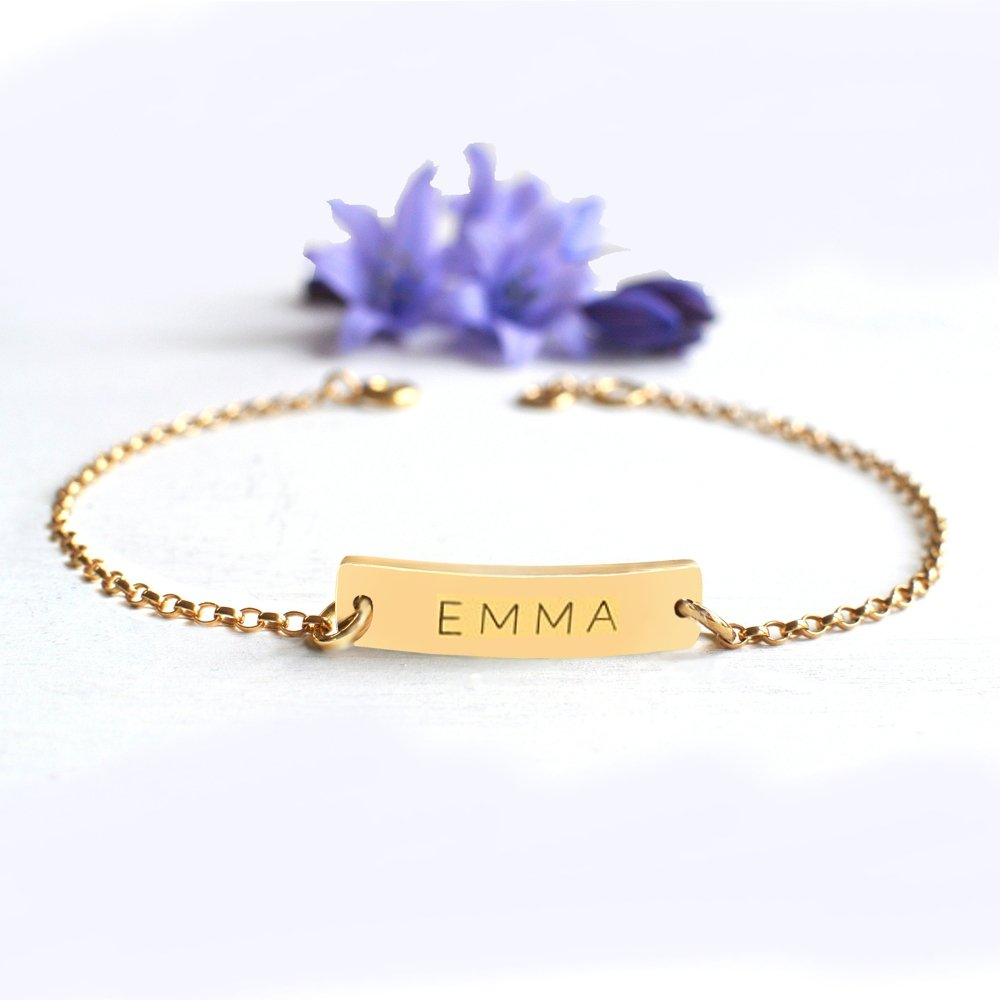 Personalised Gold Little Name Bar Bracelet