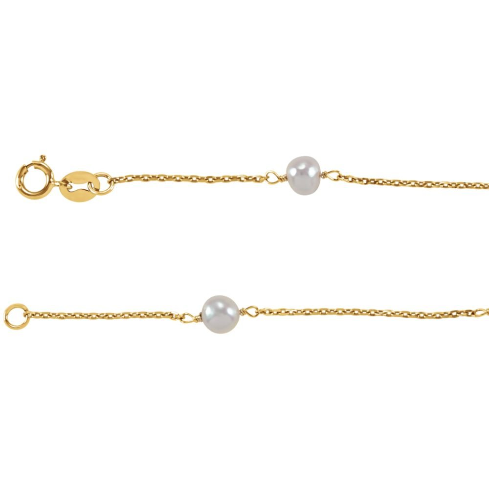 Girls Bracelet In 14K Yellow Gold With 4 Round Pearls