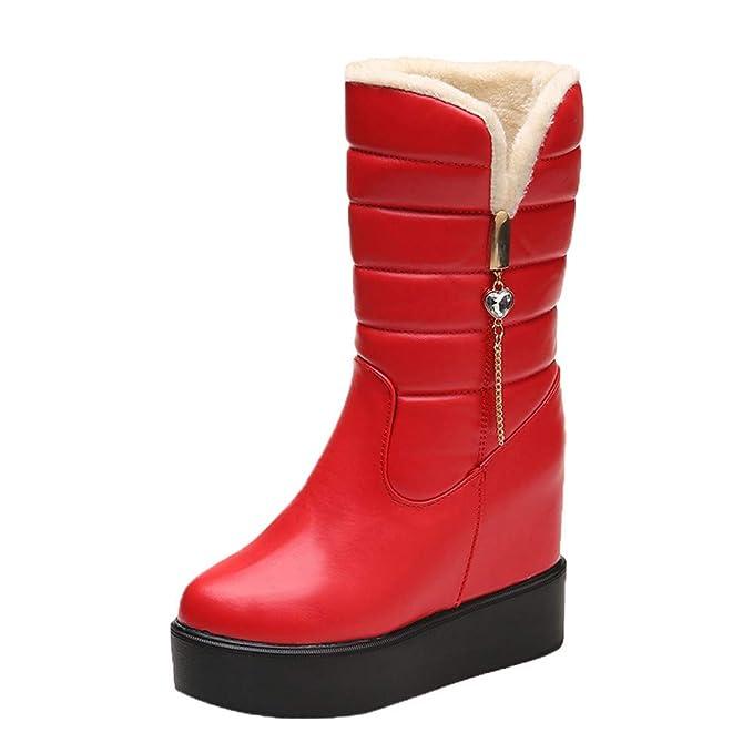 BaZhaHei-Zapatillas, Terciopelo Warm Mid-Boots Round Head Boot del Aumentar Inferior para