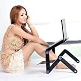 Portable Laptop Stand-Kapoo Portable Laptop Desk Foldable Laptop Stand Adjustable Laptop Table Ergonomic Bed Tray with Two CPU Cooling Fans & Extra Mouse Pad Side